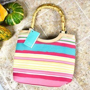 Cherry Blossom bamboo handle purse